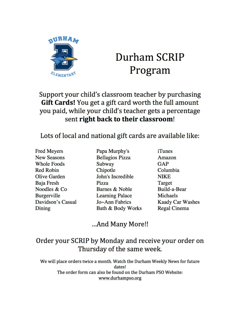 Durham SCRIP Program